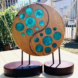 """Kunsthandwerk Skulptur """"Ocean"""" - Holz mit Epoxidharz"""
