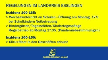 Regeln für LK Esslingen und LE bei Inzidenz 100-150/165