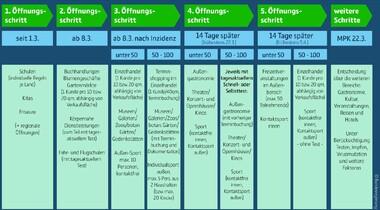 Überblick der aktuellen Öffnungsstrategien (Stand 3.3.21)