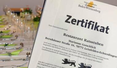 """Auszeichnung """"Schmeck den Süden"""" für Ratsstuben Echterdingen"""