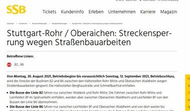 Rohr/Oberaichen: Streckensperrung wegen Straßenbauarbeiten (30.8.-12.9.21)