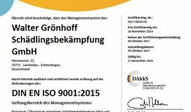 Walter Grönhoff Schädlingsbekämpfung GmbH nach DIN EN ISO 9001:2015 geprüft und zertifiziert