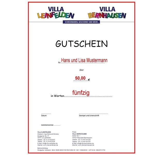 VILLA Gutschen im Wert von 50 € inkl. kleiner Überraschung