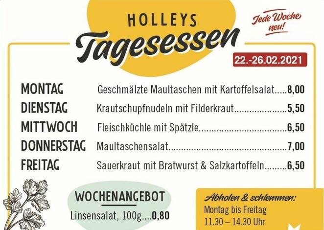 Wochenkarte 22. - 26.02. - Abholen + Schlemmen von Holley Feinkost