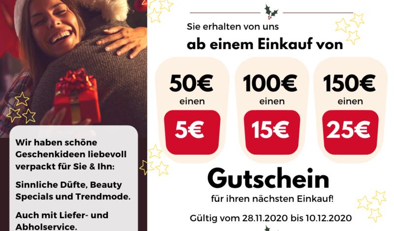 Weihnachtsaktion: Einkaufen und einen Gutschein obendrauf