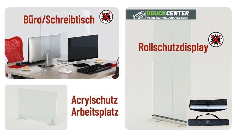 Schutzmaßnahmen wür den Arbeitsplatz - Acrylschutz, Rollschutzdisplay