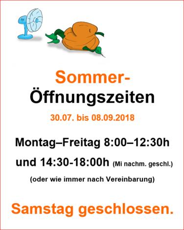 Sommeröffnungszeiten Lorenz 2018