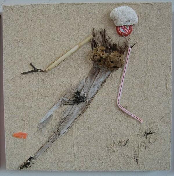 Collage auf Holzkasten, 30 x 30 cm